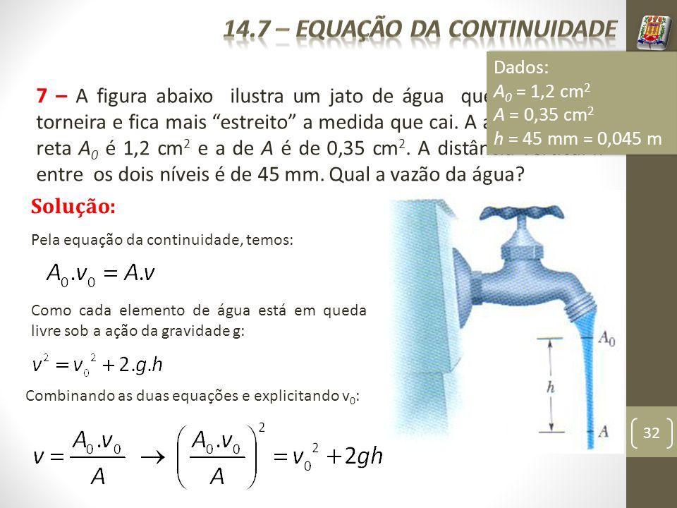 32 7 – A figura abaixo ilustra um jato de água que sai de uma torneira e fica mais estreito a medida que cai. A área da seção reta A 0 é 1,2 cm 2 e a