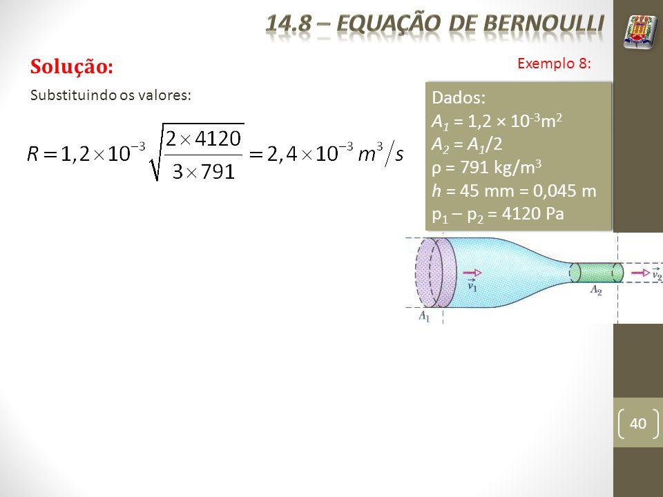 40 Exemplo 8: Solução: Dados: A 1 = 1,2 × 10 -3 m 2 A 2 = A 1 /2 ρ = 791 kg/m 3 h = 45 mm = 0,045 m p 1 – p 2 = 4120 Pa Dados: A 1 = 1,2 × 10 -3 m 2 A