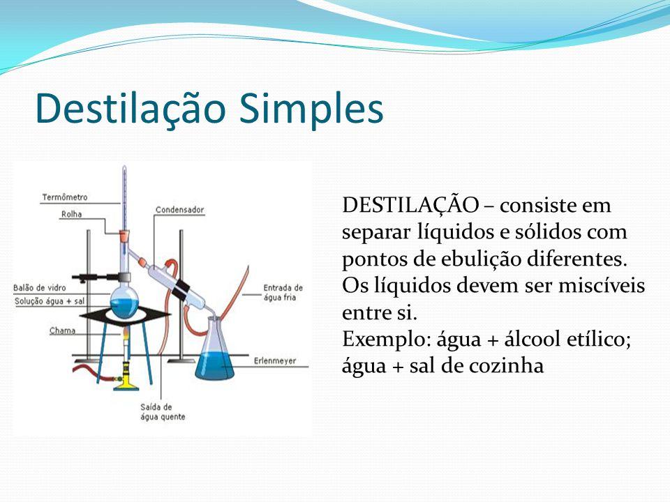 Destilação Simples DESTILAÇÃO – consiste em separar líquidos e sólidos com pontos de ebulição diferentes. Os líquidos devem ser miscíveis entre si. Ex