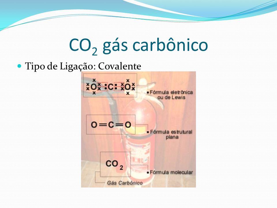 CO 2 gás carbônico Tipo de Ligação: Covalente