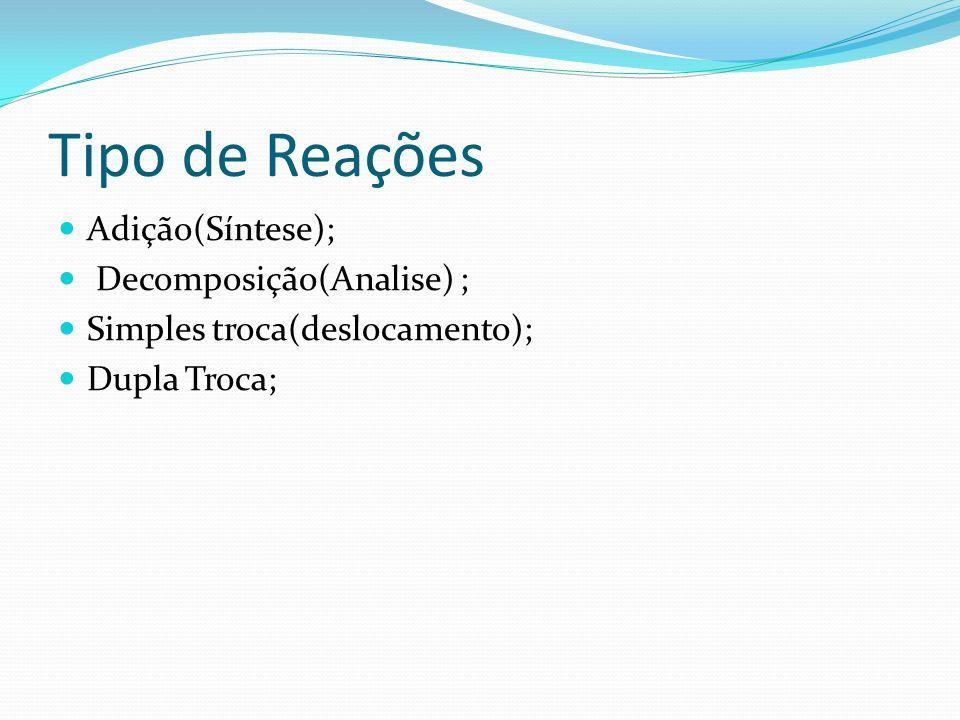 Tipo de Reações Adição(Síntese); Decomposição(Analise) ; Simples troca(deslocamento); Dupla Troca;