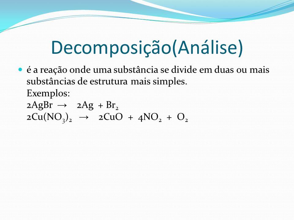 Decomposição(Análise) é a reação onde uma substância se divide em duas ou mais substâncias de estrutura mais simples. Exemplos: 2AgBr 2Ag + Br 2 2Cu(N