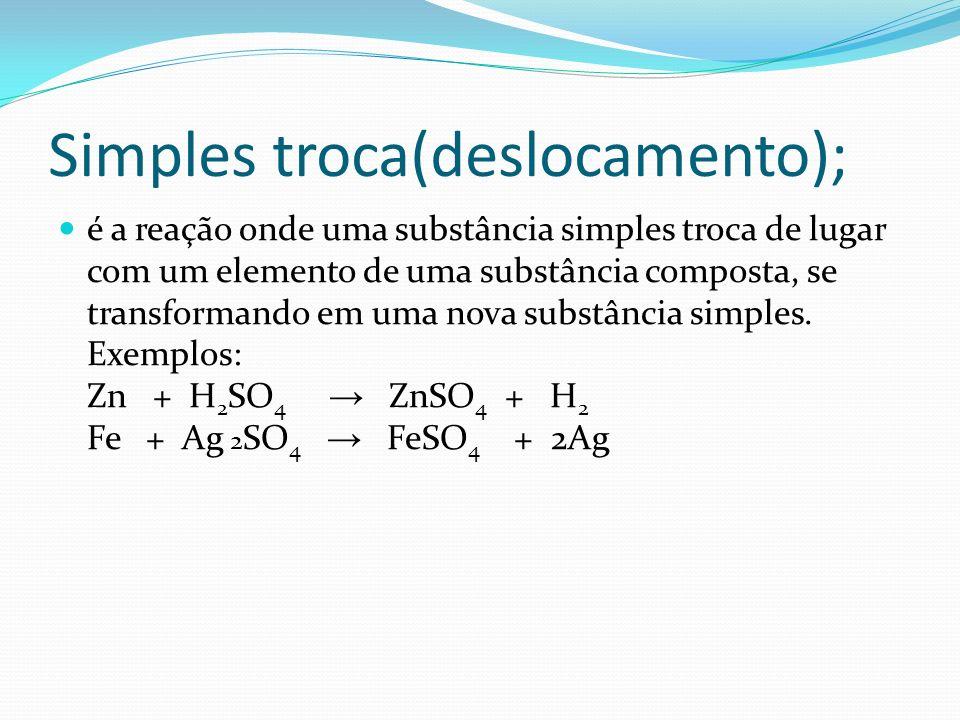 Simples troca(deslocamento); é a reação onde uma substância simples troca de lugar com um elemento de uma substância composta, se transformando em uma