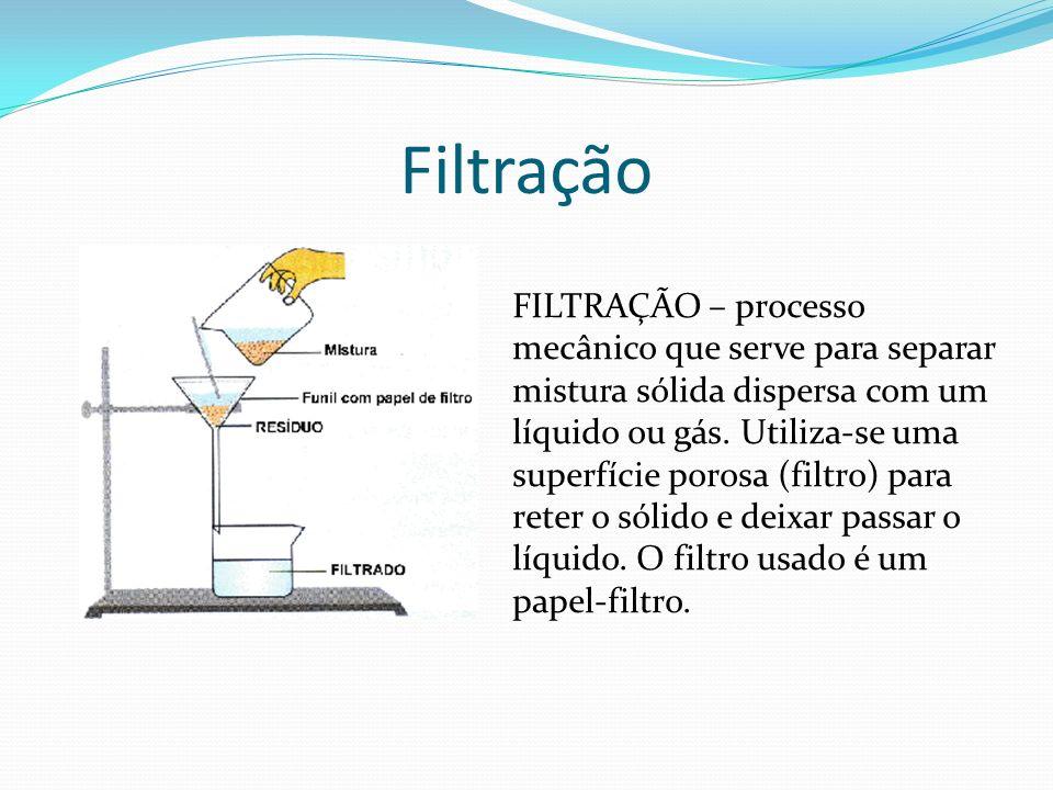 Filtração FILTRAÇÃO – processo mecânico que serve para separar mistura sólida dispersa com um líquido ou gás. Utiliza-se uma superfície porosa (filtro