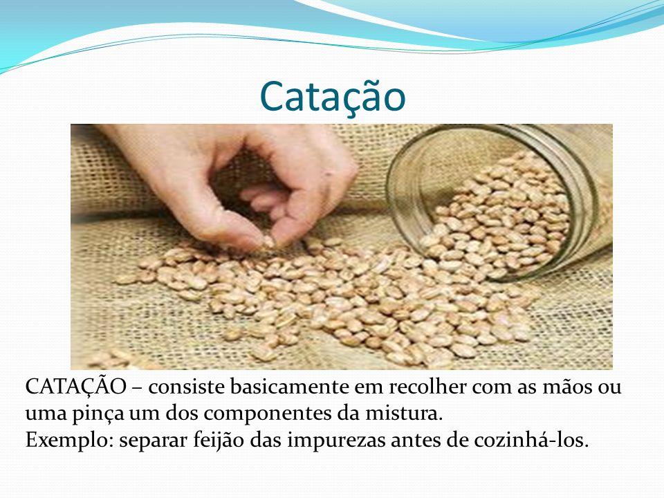 Catação CATAÇÃO – consiste basicamente em recolher com as mãos ou uma pinça um dos componentes da mistura. Exemplo: separar feijão das impurezas antes