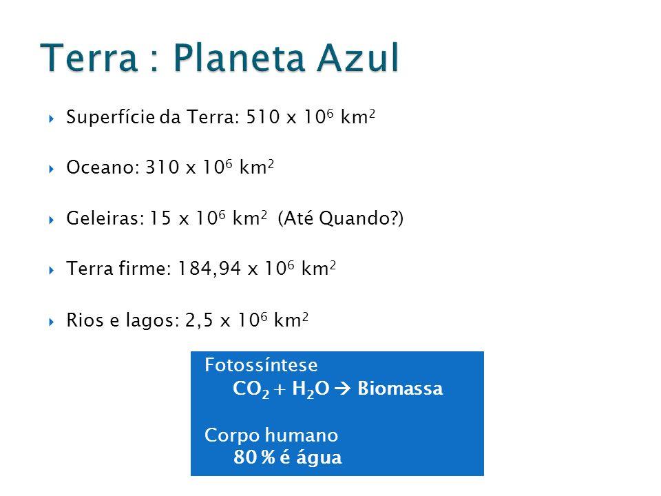 Fotossíntese CO 2 + H 2 O Biomassa Corpo humano 80 % é água Superfície da Terra: 510 x 10 6 km 2 Oceano: 310 x 10 6 km 2 Geleiras: 15 x 10 6 km 2 (Até