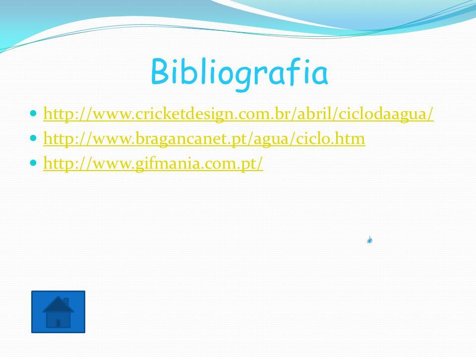 Bibliografia http://www.cricketdesign.com.br/abril/ciclodaagua/ http://www.bragancanet.pt/agua/ciclo.htm http://www.gifmania.com.pt/