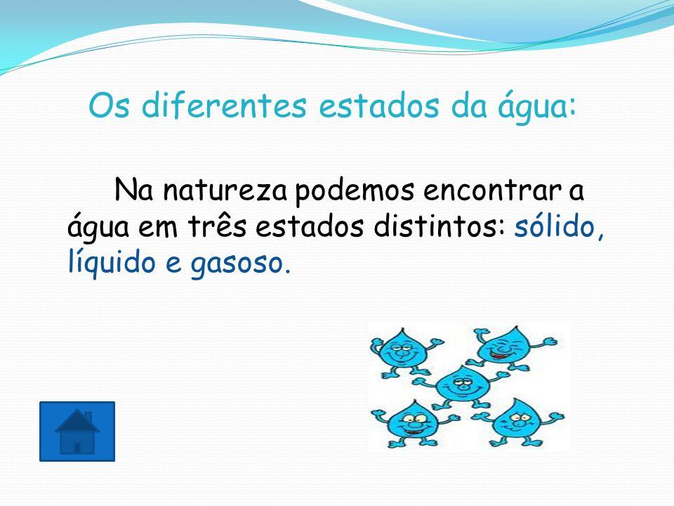 Os diferentes estados da água: Na natureza podemos encontrar a água em três estados distintos: sólido, líquido e gasoso.