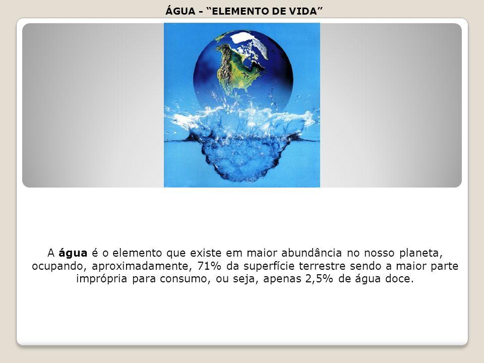 Dessa percentagem apenas 0,3% é de fácil acesso como lagos e rios. ÁGUA - ELEMENTO DE VIDA