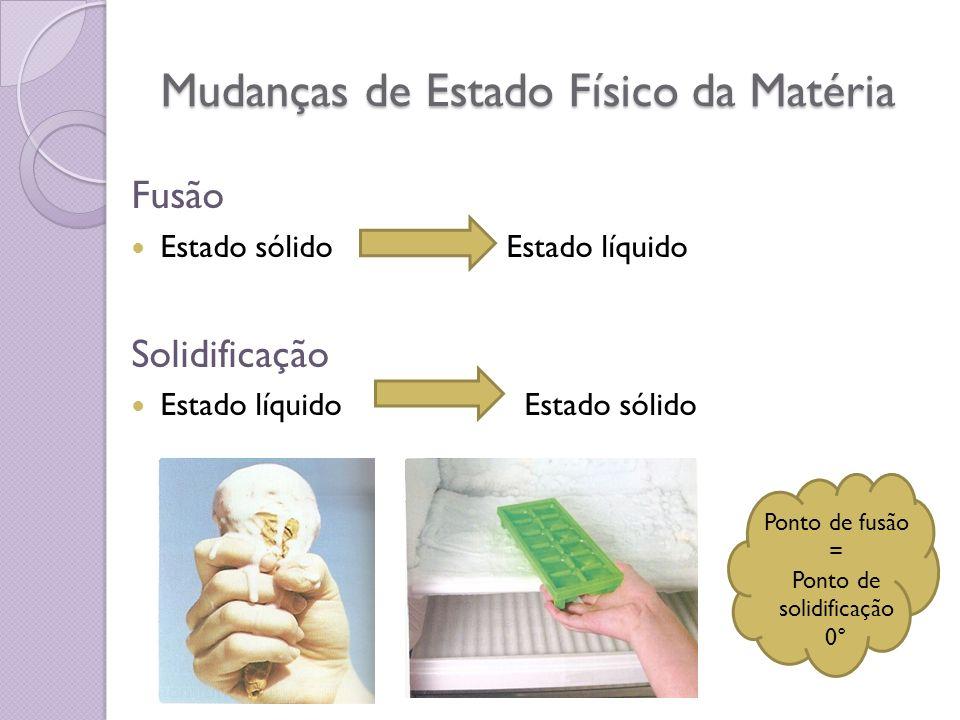 Mudanças de Estado Físico da Matéria Fusão Estado sólido Estado líquido Solidificação Estado líquido Estado sólido Ponto de fusão = Ponto de solidific