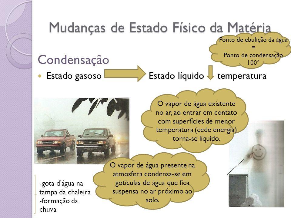 Mudanças de Estado Físico da Matéria Condensação Estado gasoso Estado líquido temperatura O vapor de água existente no ar, ao entrar em contato com su