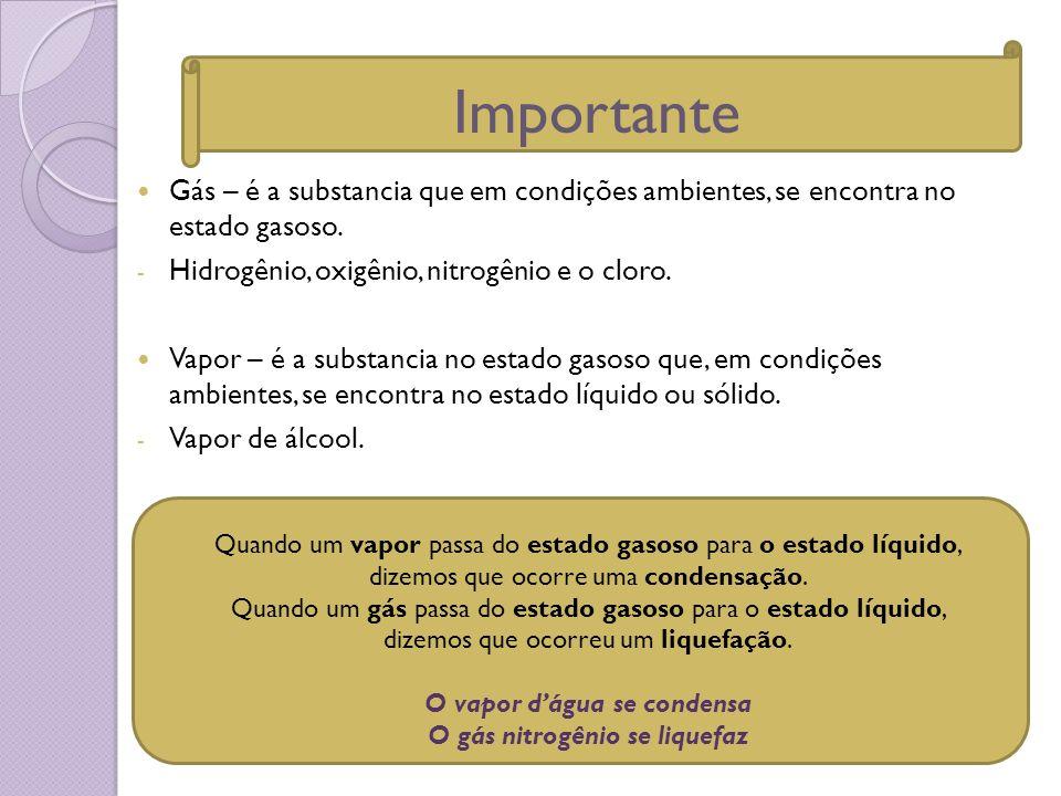 Gás – é a substancia que em condições ambientes, se encontra no estado gasoso. - Hidrogênio, oxigênio, nitrogênio e o cloro. Vapor – é a substancia no