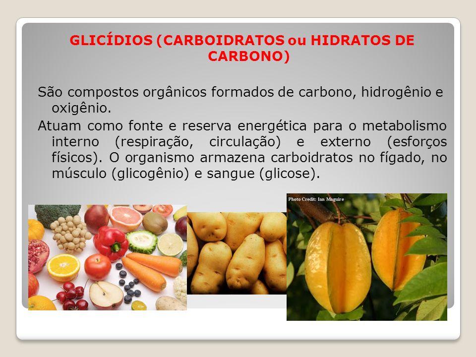 GLICÍDIOS (CARBOIDRATOS ou HIDRATOS DE CARBONO) São compostos orgânicos formados de carbono, hidrogênio e oxigênio. Atuam como fonte e reserva energét