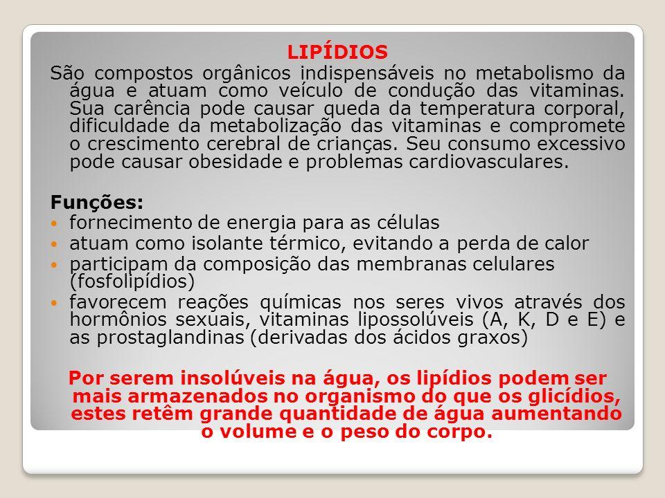 LIPÍDIOS São compostos orgânicos indispensáveis no metabolismo da água e atuam como veículo de condução das vitaminas. Sua carência pode causar queda