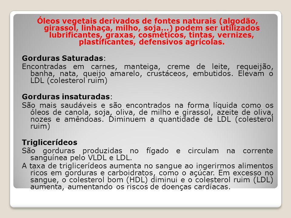 Óleos vegetais derivados de fontes naturais (algodão, girassol, linhaça, milho, soja...) podem ser utilizados lubrificantes, graxas, cosméticos, tinta
