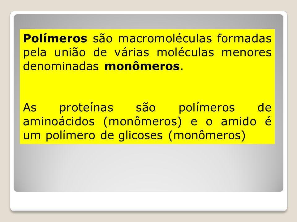 Polímeros são macromoléculas formadas pela união de várias moléculas menores denominadas monômeros. As proteínas são polímeros de aminoácidos (monômer
