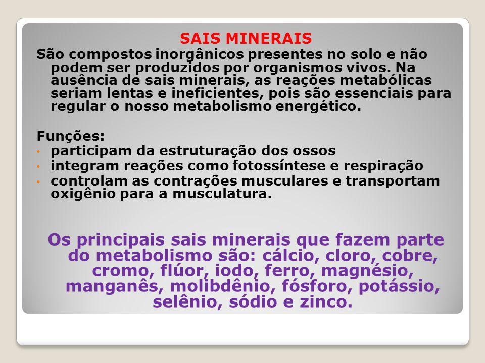 SAIS MINERAIS São compostos inorgânicos presentes no solo e não podem ser produzidos por organismos vivos. Na ausência de sais minerais, as reações me