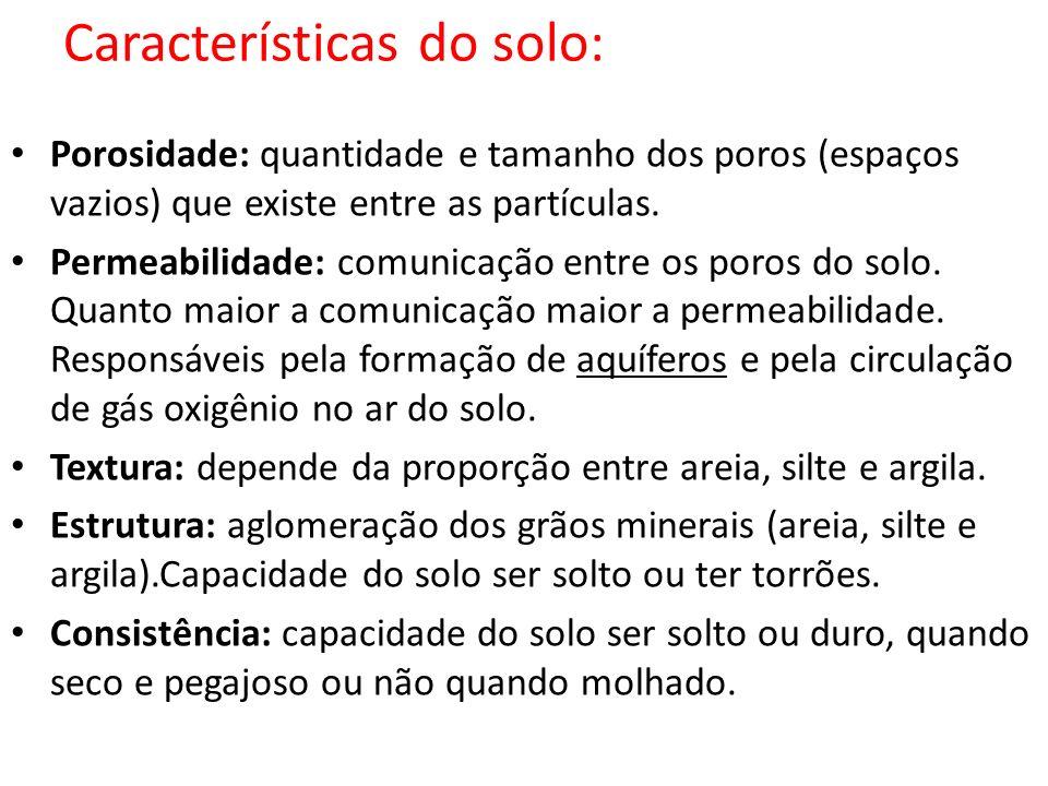 Tipos de solo segundo a textura Siltoso: solos jovens (menos comuns no Brasil).