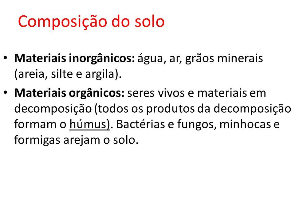 Composição do solo Materiais inorgânicos: água, ar, grãos minerais (areia, silte e argila). Materiais orgânicos: seres vivos e materiais em decomposiç
