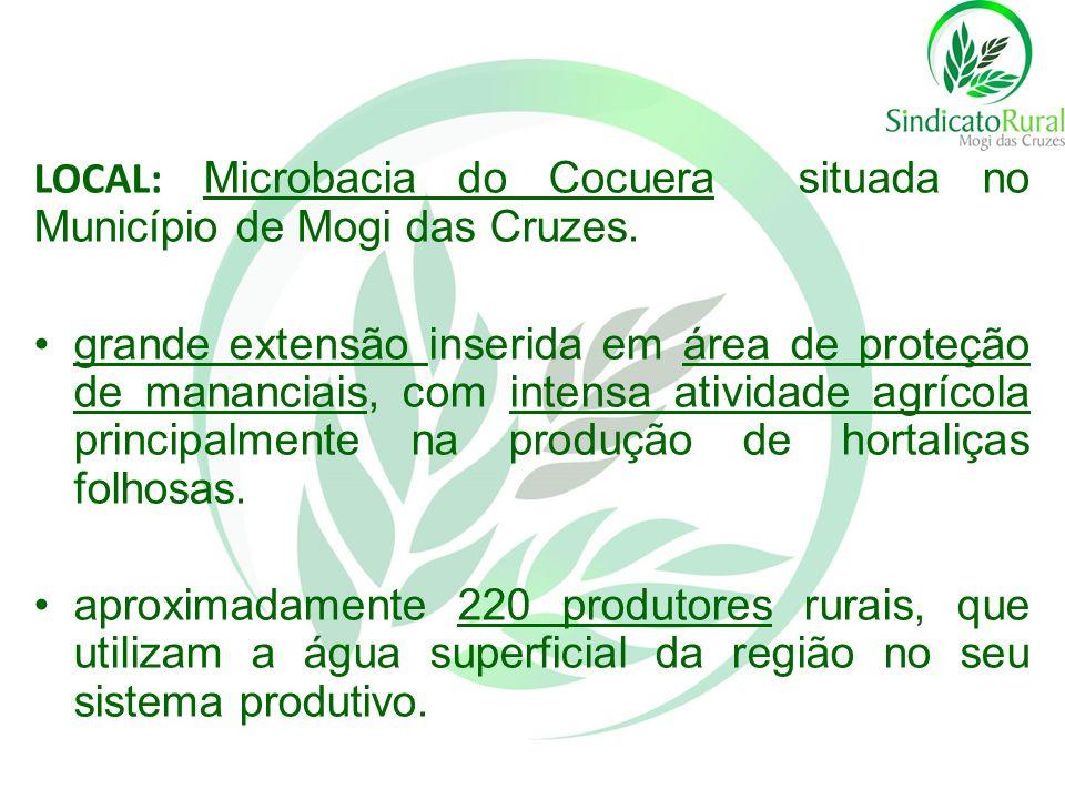 LOCAL: Microbacia do Cocuera situada no Município de Mogi das Cruzes. grande extensão inserida em área de proteção de mananciais, com intensa atividad