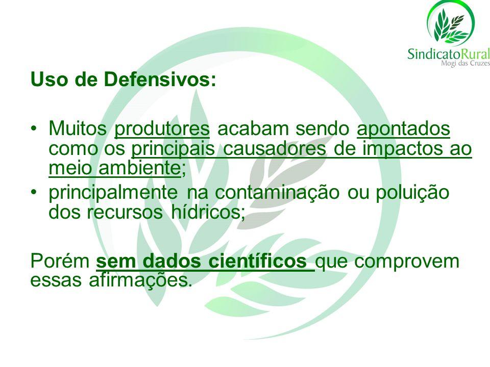 Uso de Defensivos: Muitos produtores acabam sendo apontados como os principais causadores de impactos ao meio ambiente; principalmente na contaminação