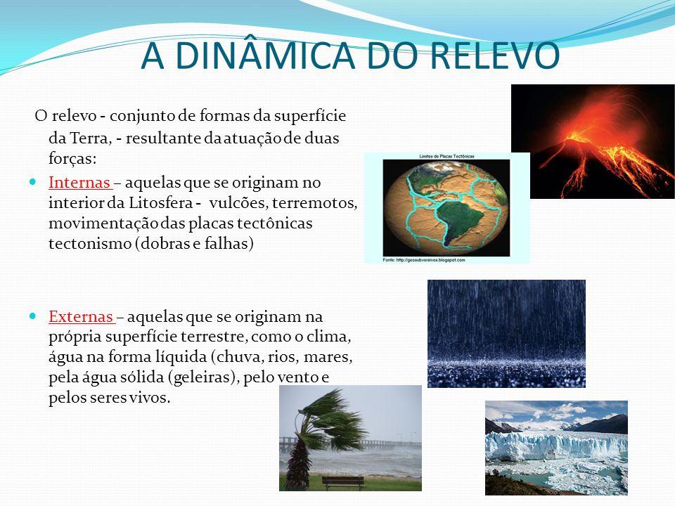 A DINÂMICA DO RELEVO O relevo - conjunto de formas da superfície da Terra, - resultante da atuação de duas forças: Internas – aquelas que se originam no interior da Litosfera - vulcões, terremotos, movimentação das placas tectônicas tectonismo (dobras e falhas) Externas – aquelas que se originam na própria superfície terrestre, como o clima, água na forma líquida (chuva, rios, mares, pela água sólida (geleiras), pelo vento e pelos seres vivos.