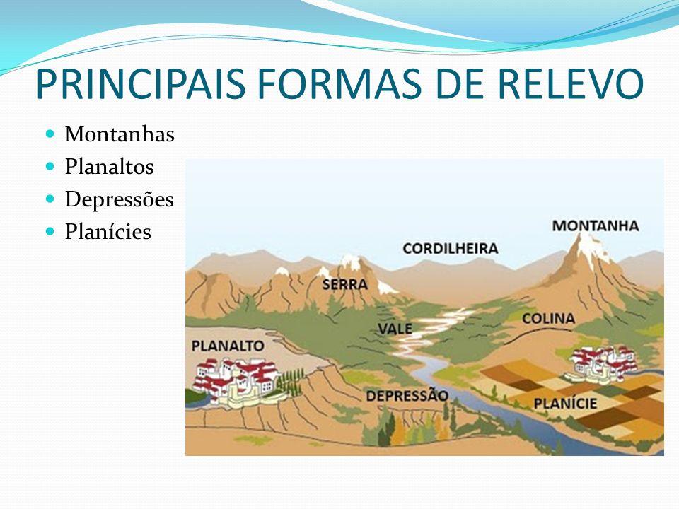 PRINCIPAIS FORMAS DE RELEVO Montanhas Planaltos Depressões Planícies