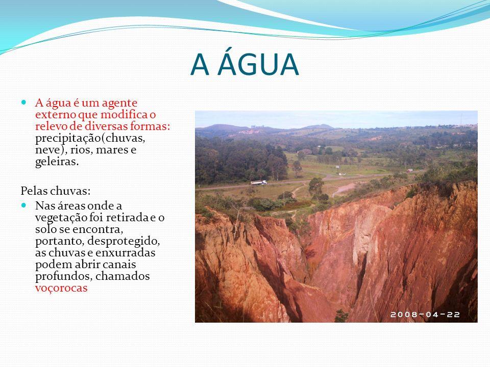 A ÁGUA A água é um agente externo que modifica o relevo de diversas formas: precipitação(chuvas, neve), rios, mares e geleiras. Pelas chuvas: Nas área