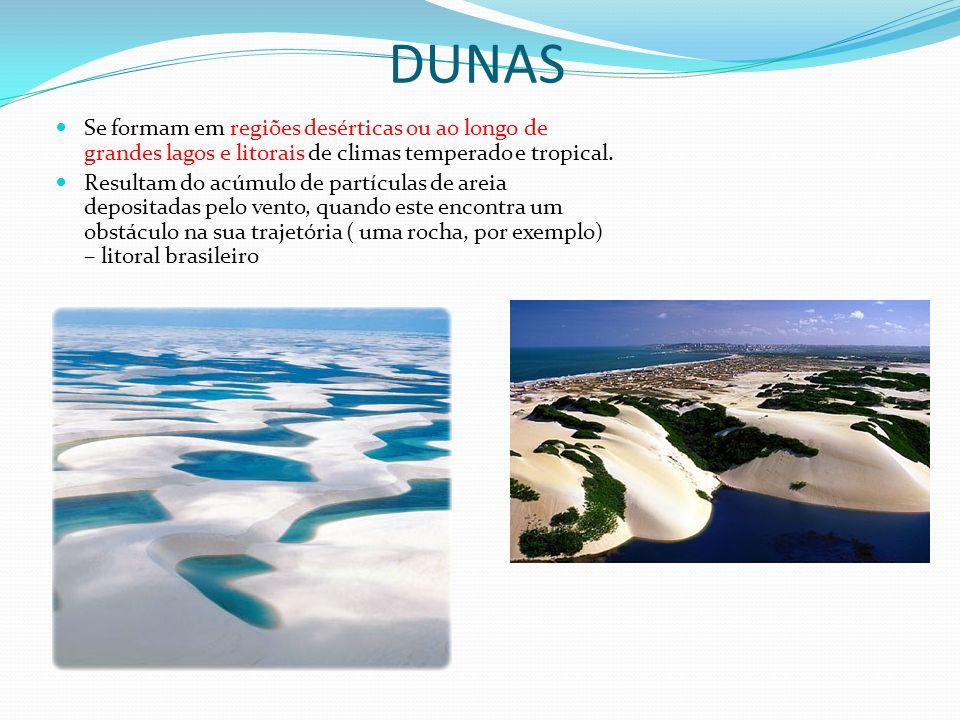 DUNAS Se formam em regiões desérticas ou ao longo de grandes lagos e litorais de climas temperado e tropical. Resultam do acúmulo de partículas de are