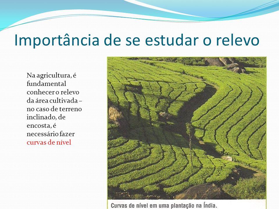 Importância de se estudar o relevo Na agricultura, é fundamental conhecer o relevo da área cultivada – no caso de terreno inclinado, de encosta, é necessário fazer curvas de nível