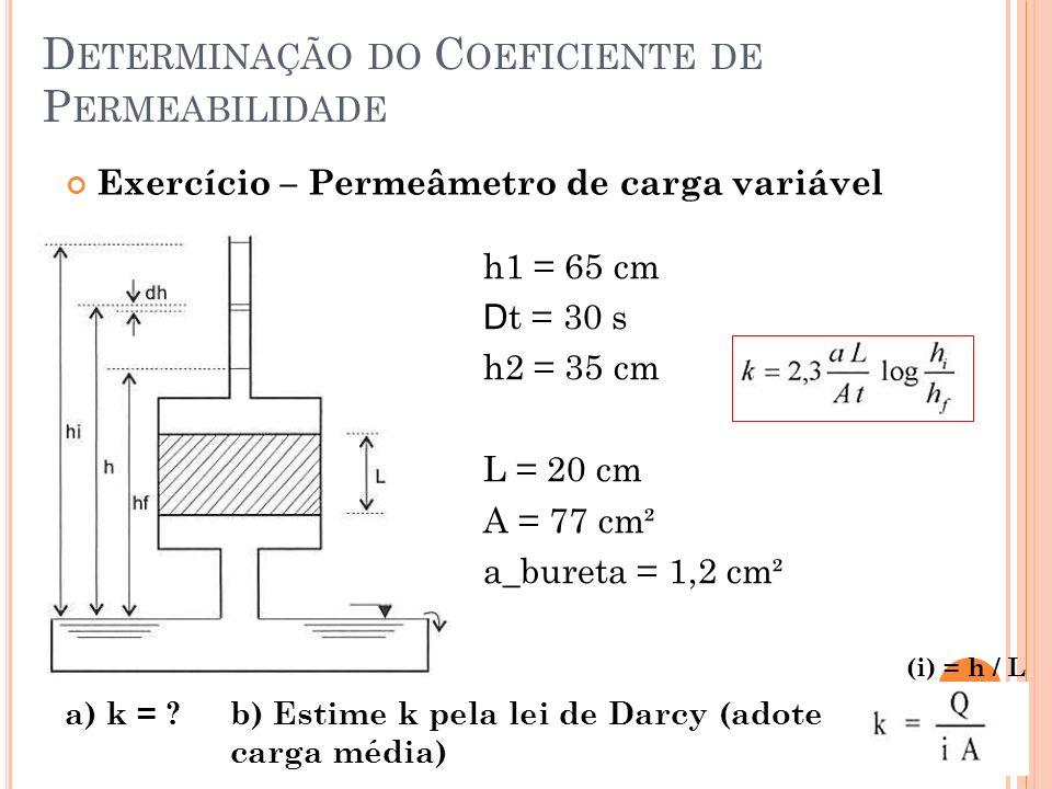 D ETERMINAÇÃO DO C OEFICIENTE DE P ERMEABILIDADE 10 h1 = 65 cm D t = 30 s h2 = 35 cm L = 20 cm A = 77 cm² a_bureta = 1,2 cm² Exercício – Permeâmetro de carga variável a) k = ?b) Estime k pela lei de Darcy (adote carga média) (i) = h / L