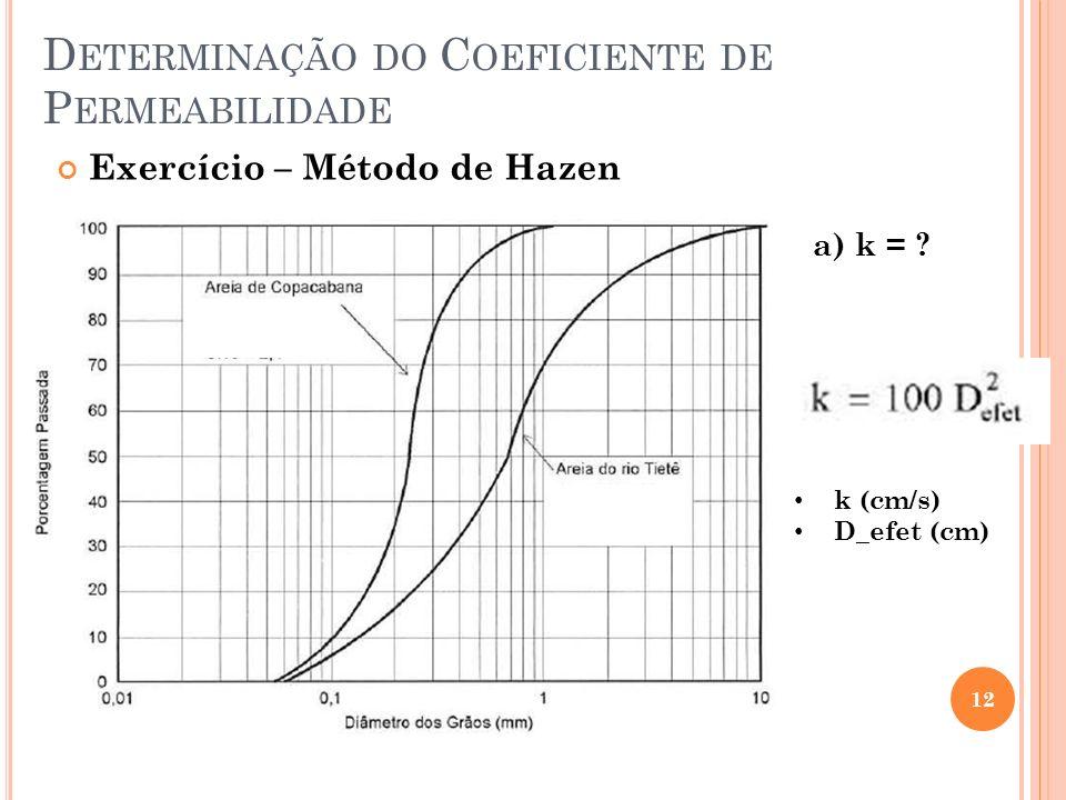 D ETERMINAÇÃO DO C OEFICIENTE DE P ERMEABILIDADE 12 Exercício – Método de Hazen a) k = .