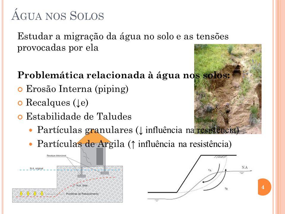 Á GUA NOS S OLOS 4 Estudar a migração da água no solo e as tensões provocadas por ela Problemática relacionada à água nos solos: Erosão Interna (piping) Recalques ( e) Estabilidade de Taludes Partículas granulares ( influência na resistência) Partículas de Argila ( influência na resistência)