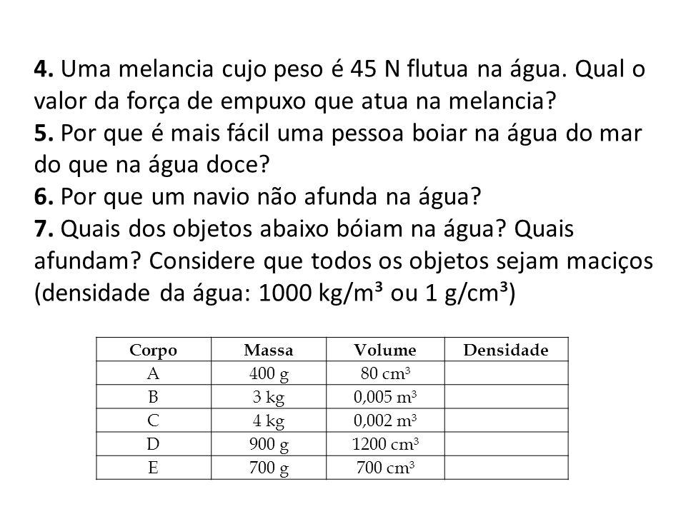 4. Uma melancia cujo peso é 45 N flutua na água. Qual o valor da força de empuxo que atua na melancia? 5. Por que é mais fácil uma pessoa boiar na águ