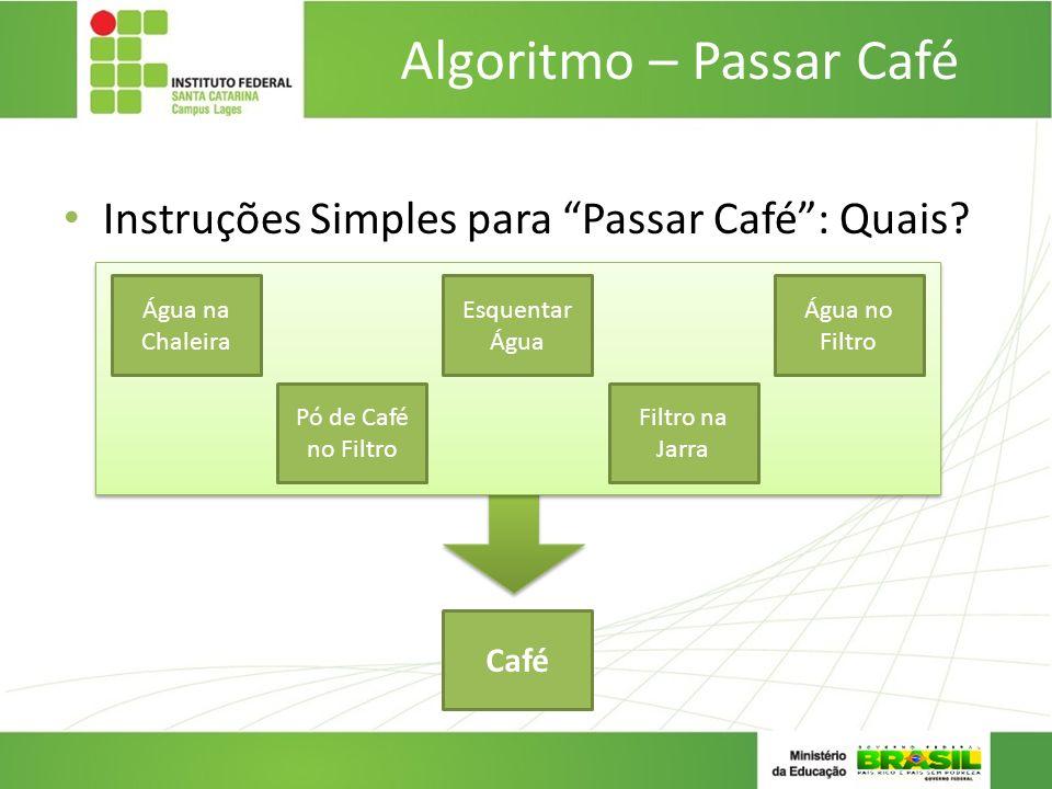 Instruções Simples para Passar Café: Quais? Algoritmo – Passar Café Esquentar Água Pó de Café no Filtro Filtro na Jarra Água no Filtro Água na Chaleir