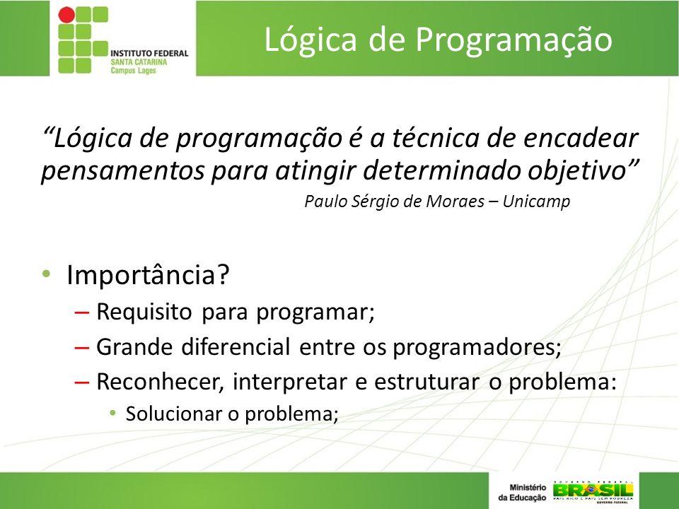 Lógica de Programação Lógica de programação é a técnica de encadear pensamentos para atingir determinado objetivo Paulo Sérgio de Moraes – Unicamp Imp