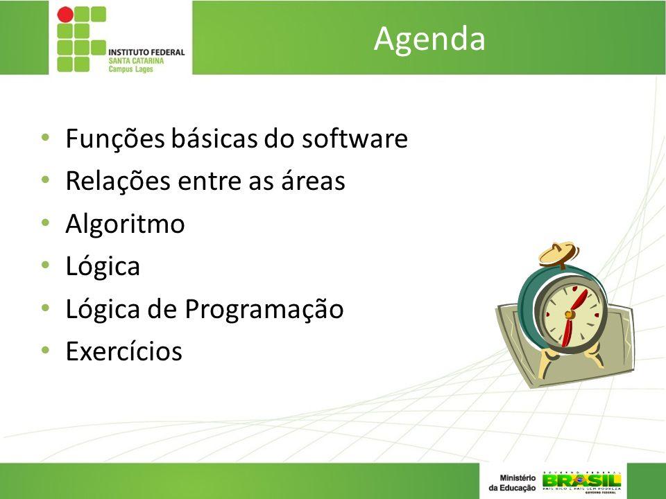 Agenda Funções básicas do software Relações entre as áreas Algoritmo Lógica Lógica de Programação Exercícios