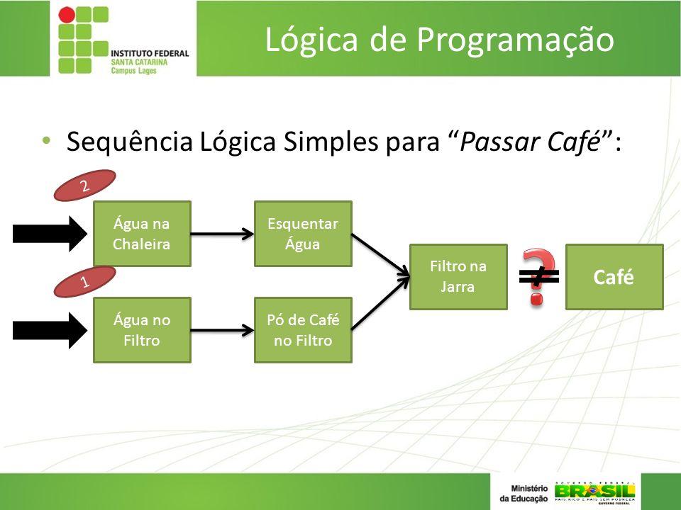 Sequência Lógica Simples para Passar Café: Lógica de Programação Esquentar Água Pó de Café no Filtro Filtro na Jarra Água no Filtro Água na Chaleira C