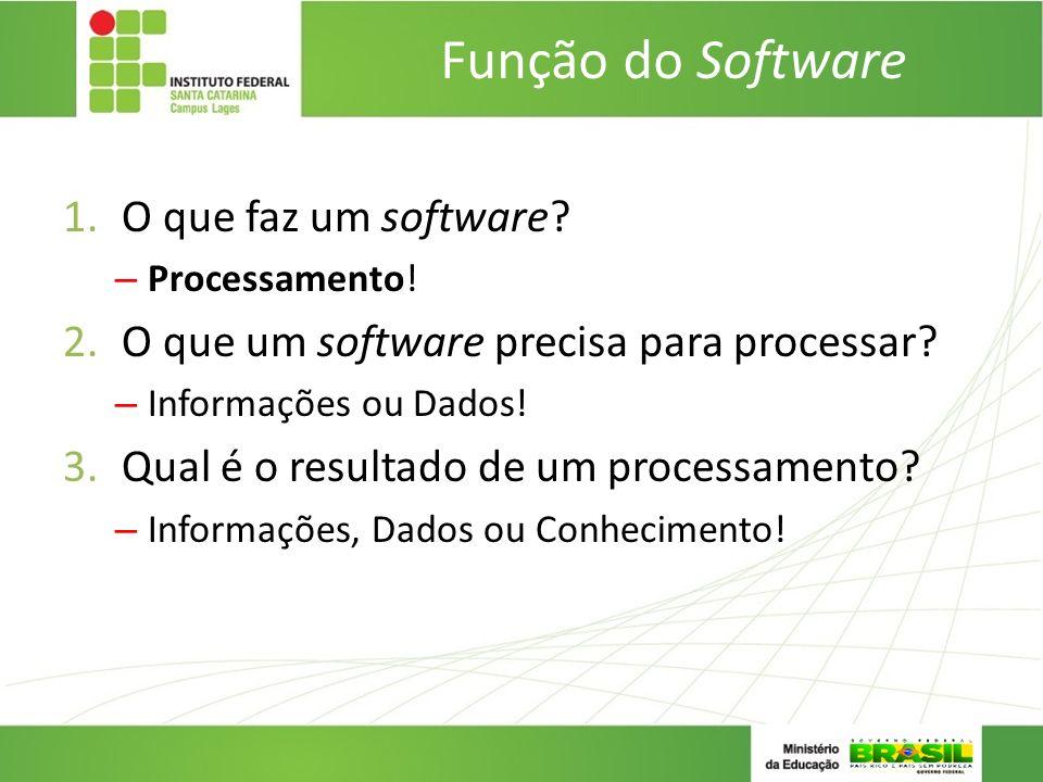 Função do Software 1.O que faz um software? – Processamento! 2.O que um software precisa para processar? – Informações ou Dados! 3.Qual é o resultado
