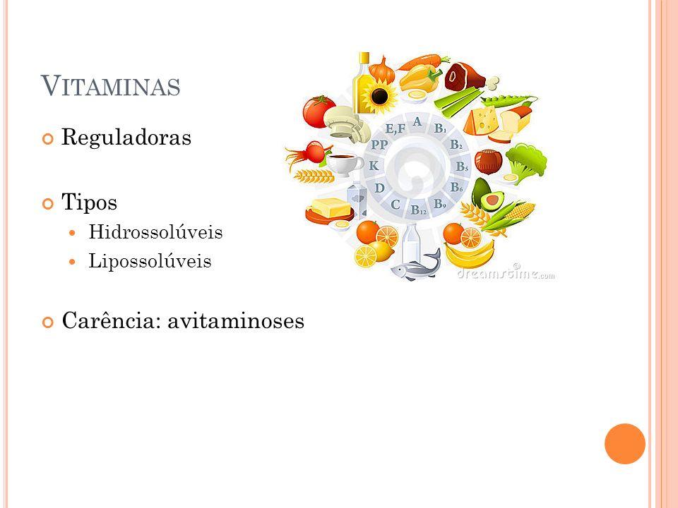 V ITAMINAS Reguladoras Tipos Hidrossolúveis Lipossolúveis Carência: avitaminoses