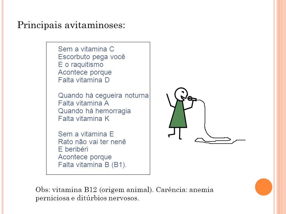 Principais avitaminoses: Sem a vitamina C Escorbuto pega você E o raquitismo Acontece porque Falta vitamina D Quando há cegueira noturna Falta vitamin