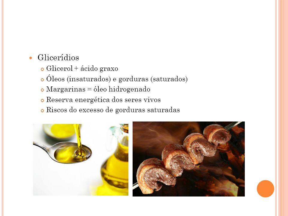 Glicerídios Glicerol + ácido graxo Óleos (insaturados) e gorduras (saturados) Margarinas = óleo hidrogenado Reserva energética dos seres vivos Riscos