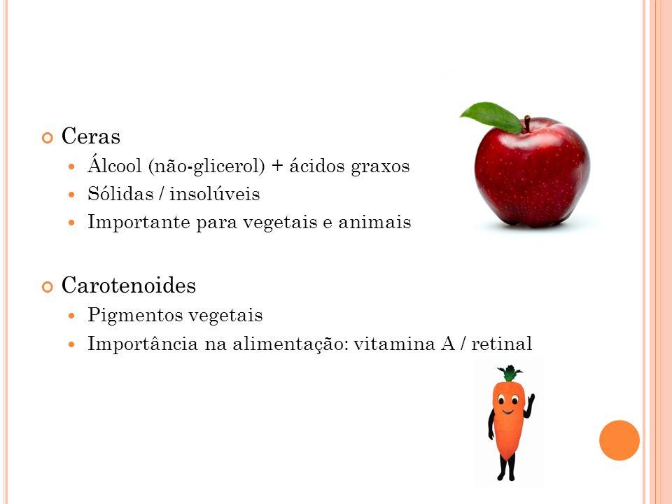 Ceras Álcool (não-glicerol) + ácidos graxos Sólidas / insolúveis Importante para vegetais e animais Carotenoides Pigmentos vegetais Importância na ali
