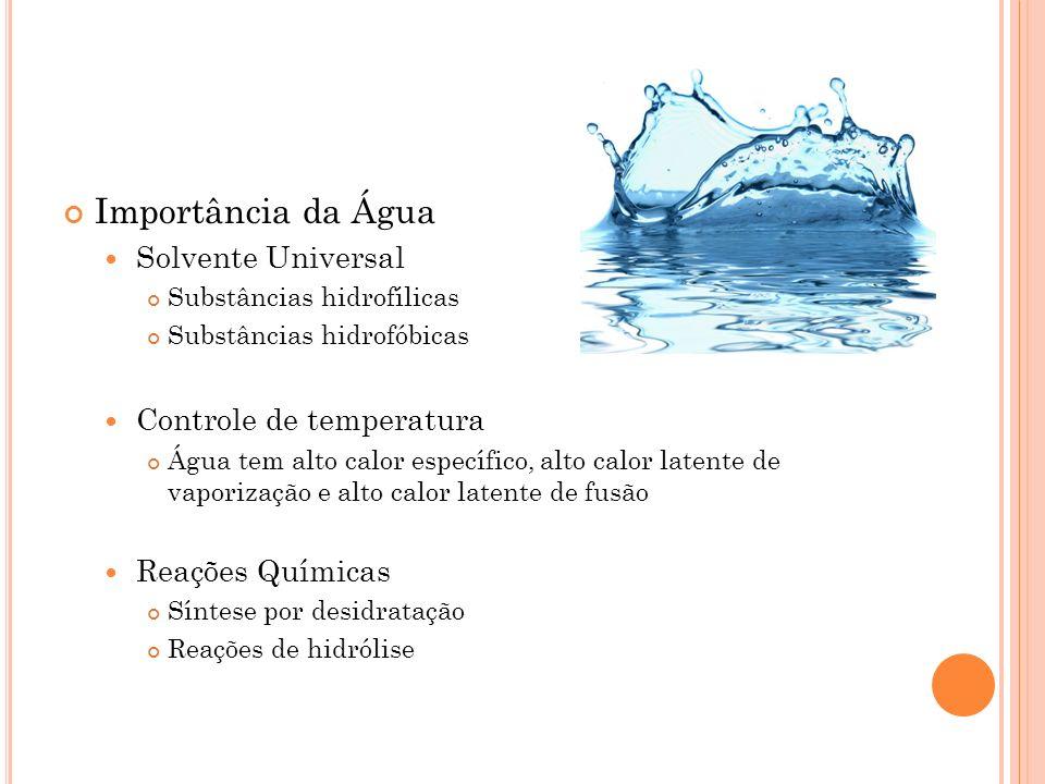 Importância da Água Solvente Universal Substâncias hidrofílicas Substâncias hidrofóbicas Controle de temperatura Água tem alto calor específico, alto