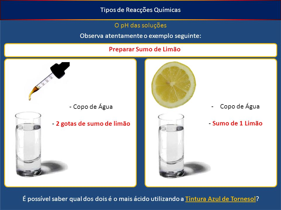 Tipos de Reacções Químicas O pH das soluções Observa atentamente o exemplo seguinte: Preparar Sumo de Limão - Copo de Água - 2 gotas de sumo de limão -Copo de Água - Sumo de 1 Limão É possível saber qual dos dois é o mais ácido utilizando a Tintura Azul de Tornesol?