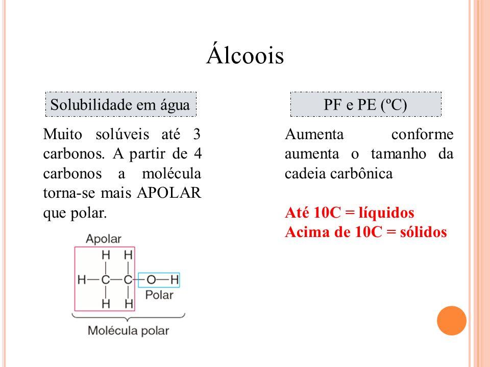 Química Álcoois Solubilidade em águaPF e PE (ºC) Muito solúveis até 3 carbonos. A partir de 4 carbonos a molécula torna-se mais APOLAR que polar. Aume