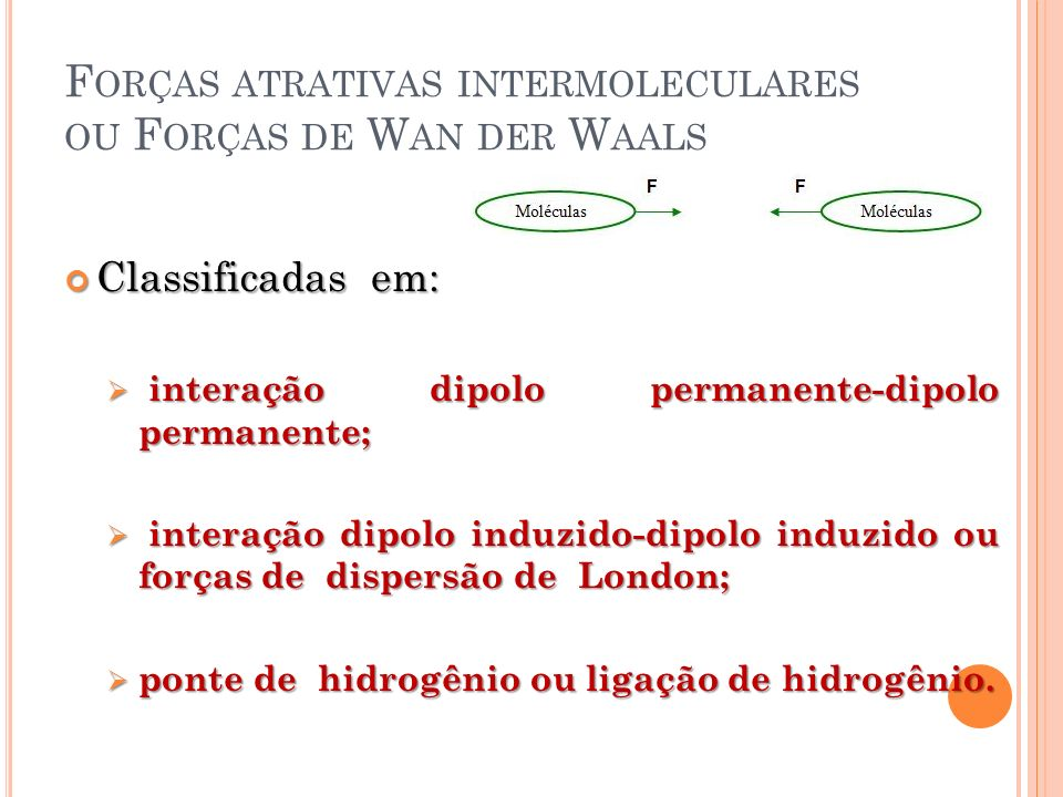 F ORÇAS ATRATIVAS INTERMOLECULARES OU F ORÇAS DE W AN DER W AALS Classificadas em: Classificadas em: interação dipolo permanente-dipolo permanente; in