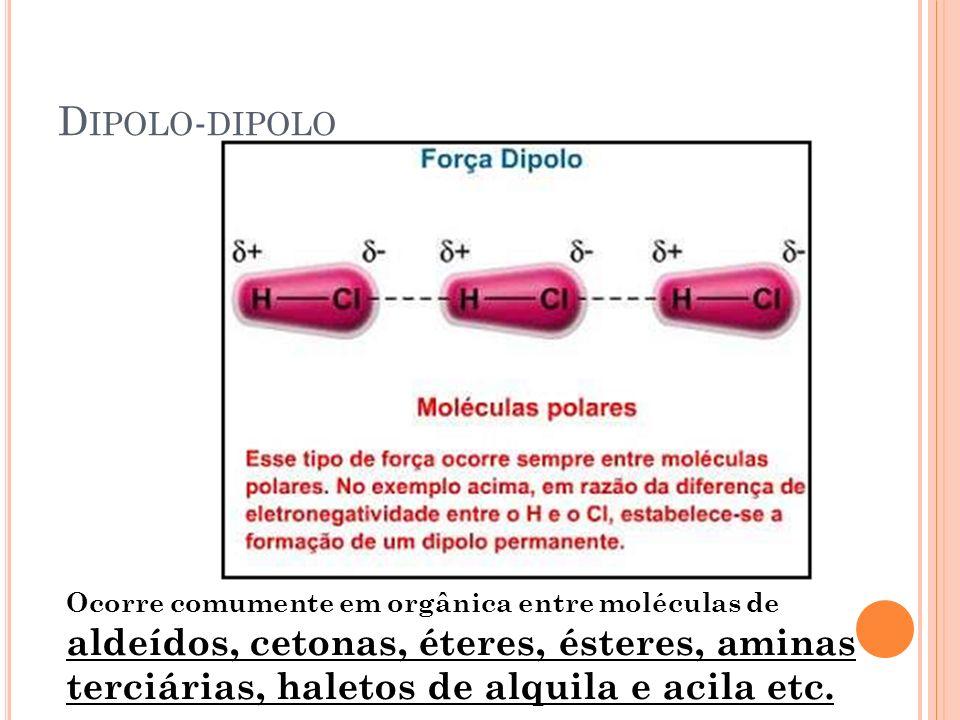 D IPOLO - DIPOLO Ocorre comumente em orgânica entre moléculas de aldeídos, cetonas, éteres, ésteres, aminas terciárias, haletos de alquila e acila etc