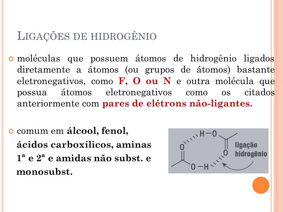 L IGAÇÕES DE HIDROGÊNIO moléculas que possuem átomos de hidrogênio ligados diretamente a átomos (ou grupos de átomos) bastante eletronegativos, como F