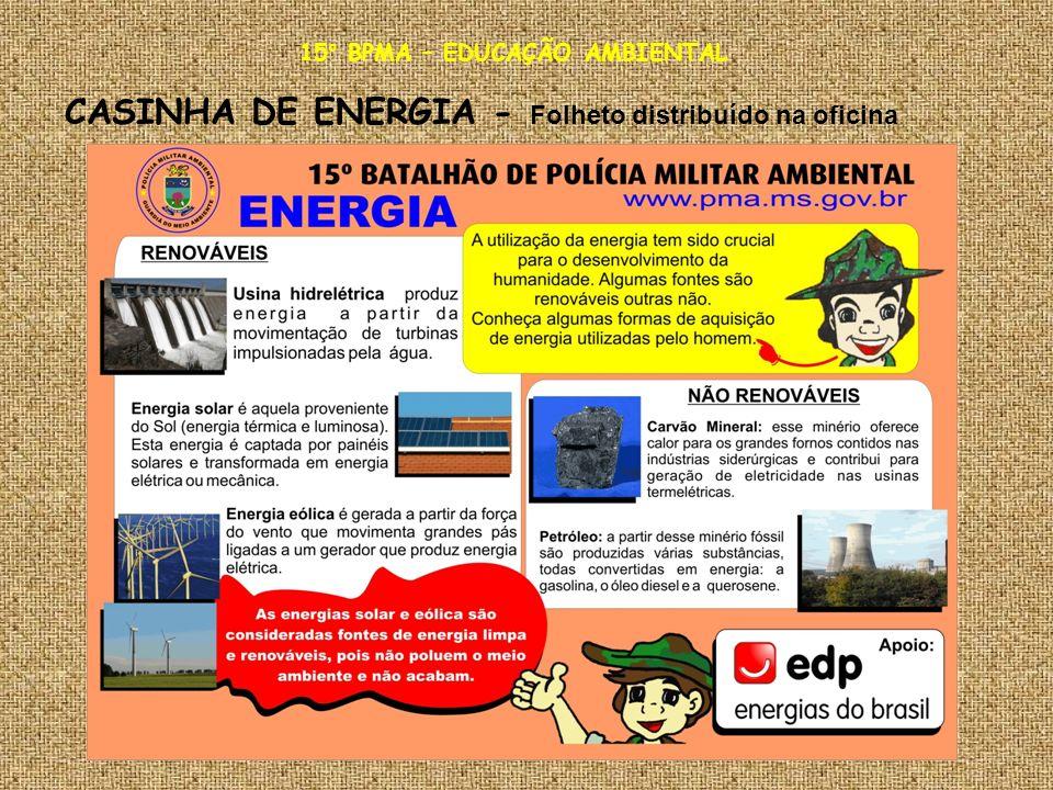 15° BPMA – EDUCAÇÃO AMBIENTAL CASINHA DE ENERGIA - Folheto distribuído na oficina